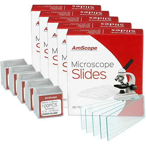 AmScope BS-72P-100S-22X5 360 Pieces of Pre-Cleaned Blank Microscope Slides (5 Count)