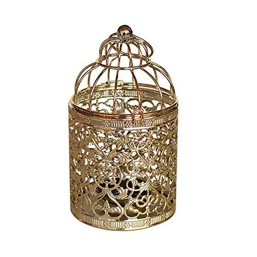 Flower Hollow Pattern - preliked Elegant Candlestick with Hollow Flower Pattern Hanging Iron Birdcage Candle Stand Holder - Golden B