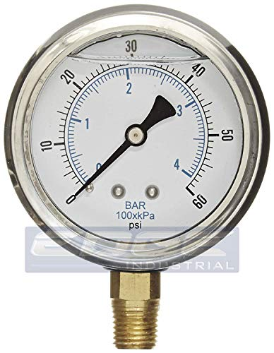 NEW STAINLESS STEEL LIQUID FILLED PRESSURE GAUGE WOG WATER OIL GAS 0 to 60 PSI LOWER MOUNT 0-60 PSI 1/4