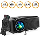 DBPOWER Video Projector, 120 ANSI 3400L 1080P Full HD LED Movie Projector, 50,000 Hours Lamp Life Home Theater Video Projector Compatible with HDMI/AV/USB/SD/VGA/TV/Laptop/Game