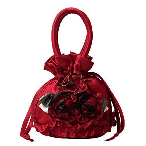 HBSHE New Women Embroidered Flower Silk Satin Purse Coin Wallet Gift Small Handbag Bag Red