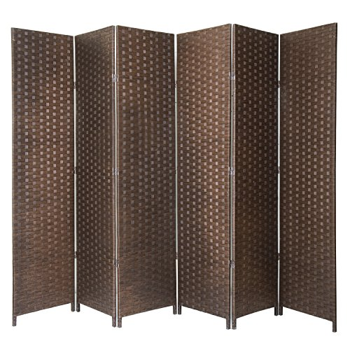 MyGift 6-Panel Seagrass Woven Freestanding Room Divider, Privacy Screen with Wood Frame, Brown