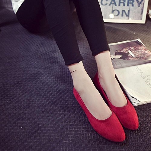 New Junior Ballerina Slip Red On Look Women Suede Ladies Loafers Sandals 2018 Flat Leather Office Casual Shoes wAw7q614x