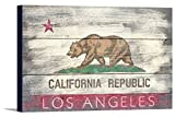 Los Angeles, California – Rustic California State Flag (18×12 Gallery Wrapped Stretched Canvas)