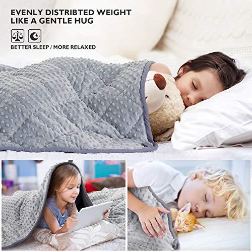 Peradix Couverture Lestée 4.6kg,Couverture pondérée 104 * 152 CM pour Enfants et Adultes,Soulagement du Stress et de L'anxiété, Apaisant Sensoriel pour Bien Dormir-Gris(10 Livres)