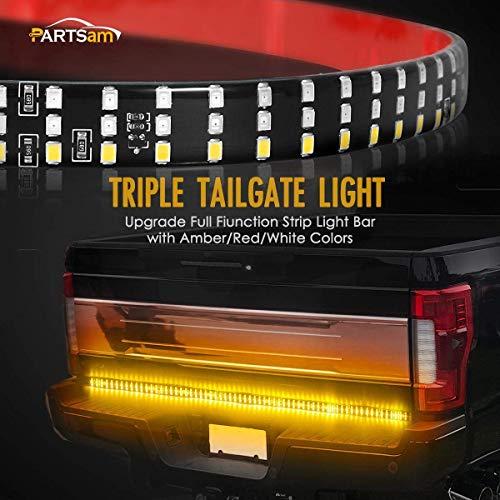 Partsam 60″ 432LEDs Triple LED Tailgate Light Bar Red Stop Brake Running Light Amber Turn Signal White Reverse Lighting Kits Waterproof Truck LED Strip for Pickup, RV, SUV, Boats