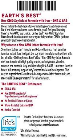 51D7Dl8iCYL. AC - Earth's Best Non-GMO Soy Plant Based Infant Powder Formula With Iron, Omega-3 DHA & 6 ARA, 23.2 Oz.