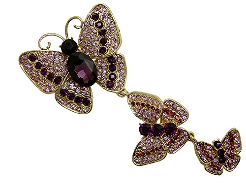 Austrian Crystal Butterfly Pin (TTjewelry Pretty 3 Butterflies Austrian Crystal Rhinestone Brooch Pin (Purple))