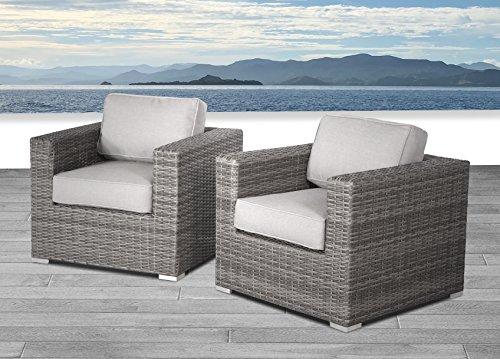 Living Source International Verona 2 Piece Club Seating Group with Cushion (Verona Grey, 2 Piece)