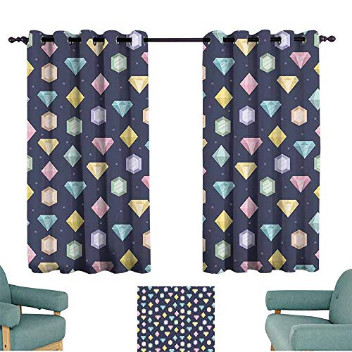 HCCJLCKS Thermal Insulated Drapes for Kitchen/Bedroom Colorful Graphic Gemstones with Different Shapes Trillion Drop and Marquise Cut Pattern Blackout Draperies for Bedroom Window W55 xL39 Multicolor