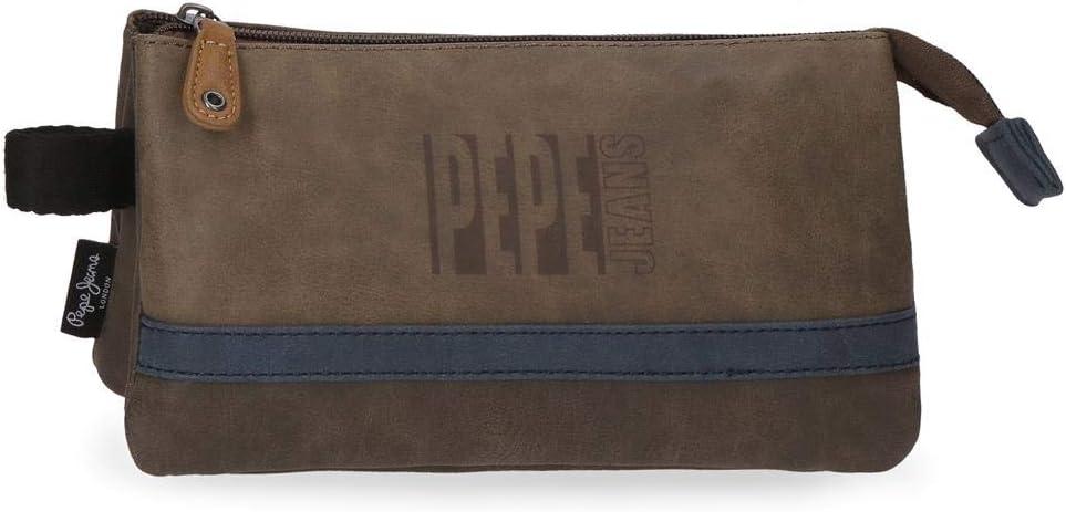 Pepe Jeans Max - Estuche con Tres Compartimentos, 22 cm, Marrón