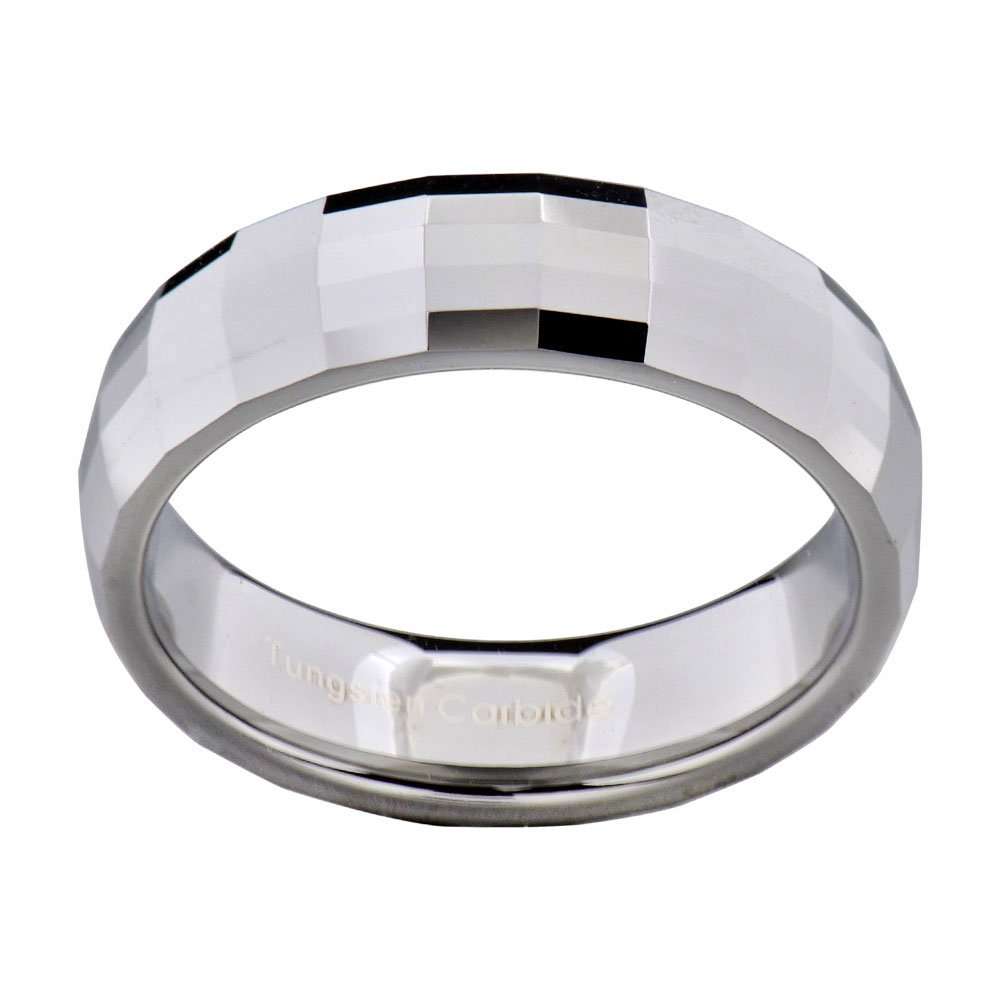 6mm White Tungsten Carbide Womens Wedding Band Ring Multi Faceted Dome Top