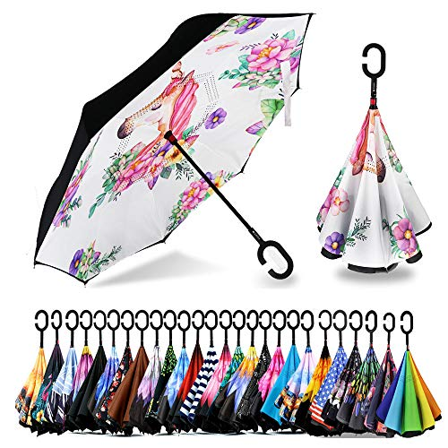 Spar. Saa Double Layer Inverted Umbrella with C-Shaped Handle, Anti-UV Waterproof Windproof Straight Umbrella for Car Rain Outdoor Use (Pure White Unicorn)