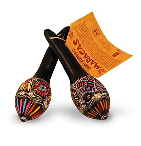 Colorful Gourd Maraca Pair Hand Carved Peru Set of Two Fair Trade Rattler *000010* - Peruvian Carved Gourds