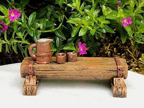 Fairy Garden Figurine Miniature Dollhouse FAIRY GARDEN ~ Wood Look Resin Bench w Tea Table ~Trimiurti ()