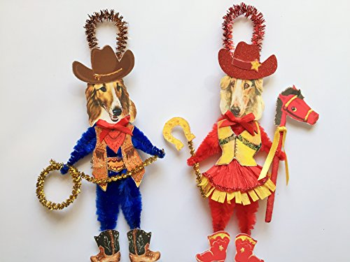 Borzoi Collie COWBOY & COWGIRL ORNAMENTS Vintage Style Chenille Ornaments Set of 2