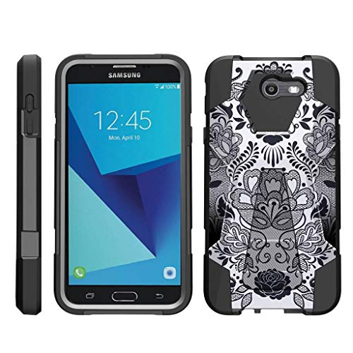 TurtleArmor | Compatible for Samsung Galaxy J7 2017 Case | J7 Prime | J7 Sky Pro [Dynamic Shell] Hard Hybrid Kickstand Silicone Impact Cover Protection Girl Designs - Lotus Flower (Sprint Phone Lotus)