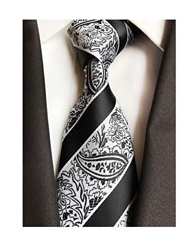 Men Black and White Silk Cravat Tie Jacquard Woven Wedding Holiday Prom Neckwear