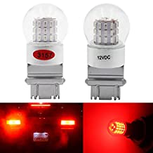 2-Pack 3157 3047 3057A Extremely Bright Red LED Light,12V-DC AMAZENAR 3014 Chipset 39 SMD 3157A Base Dimmable Replacement For Tail BackUp Bulb Brake Turn Signal Light Parking Lamps
