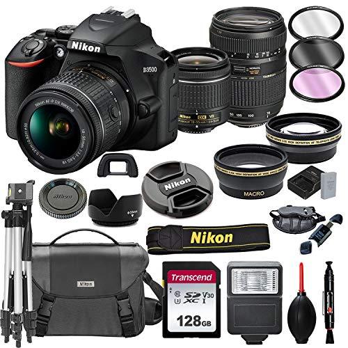 Nikon D3500 DSLR Camera with 18-55mm VR + Tamron 70-300mm + 128GB Card, Tripod, Flash, and More (20pc Bundle)