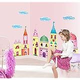 Pesp® Princess Cartoon Glitter Castle Peel & Stick Giant Wall Decal Wall Stickers Murals for Kids Room