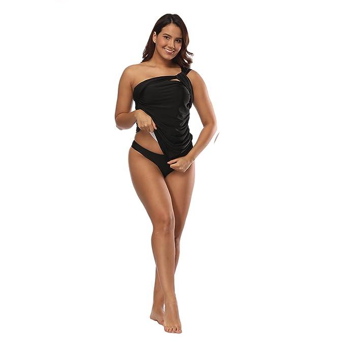 Expired Sexy Mature Woman Solid Ruffle One Shoulder Two Piece Bikini Set  Swimwear Bathing Suit