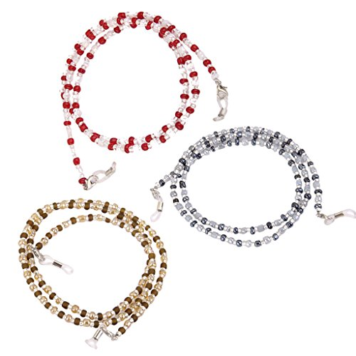 MagiDeal 3 Colors/Set Reading Eyeglass Chain Sunglasses Lanyard Beaded Necklaces for Women Girls - Eyeglasses Girl New