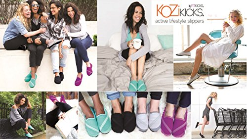 Slippers Grey Women with for KoziKicks Active and Sole Rubber Fur Lining Tq115pwxUO