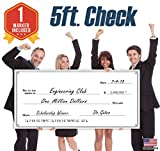 Giant Fake Check for Endowment Award - 30'' x 60'' - Large Novelty Presentation Checks Plaque - Blank Big Reward Prize Spin Wheel Donation - Raffle Fundraising Winners Celebration - NOT Reusable