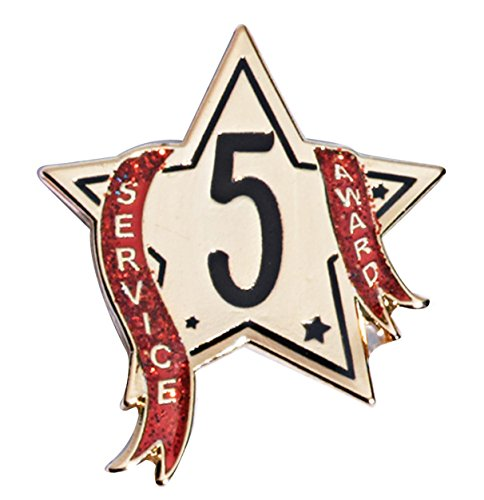 (5 Year Service Star Award Lapel Pin with Red Glitter Ribbon, 12 Pins )