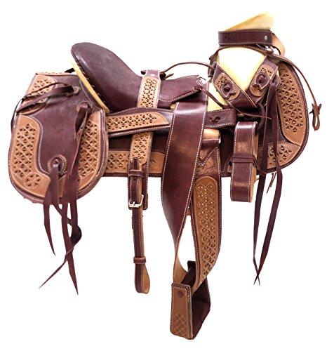 (Mexican Charro Horse Saddle Leather Burgundy Silla de Montar Adulto Fuste 151/2)