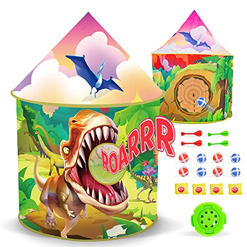 Dinosaur Kids Tent with Roar Button, Throw Game, Darts Game, Foldable Dino Tent for Kids, Dinosaur Toys Gift for Kids Girls & Boys, Kids Play Tent Outdoor Indoor