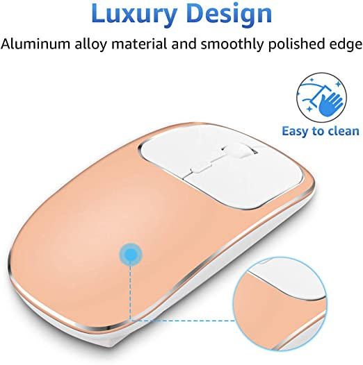 Rechargeable Wireless Mouse Compatible with Notebook PC Metal 2.4G Noiseless Silent Click Wireless Optical Mouse with USB Receiver Computer MacBook Laptop