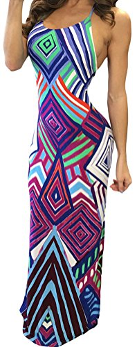 Inflatable Blueberry Suit (DH-MS Dress Women's Chic Geometric Pattern Boho Style Maxi Dress with Slit)