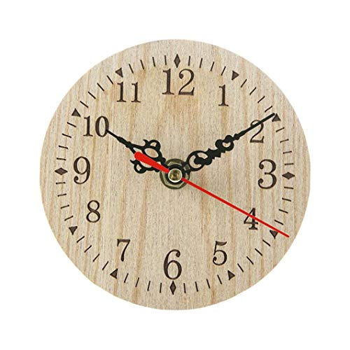 Shabby Retro Wooden Wall Clock, Sttech1 Wall Clocks Large Decorative Antique Vintage Rustic Country Style Home Kitchen Room Decor (Beige A) ()