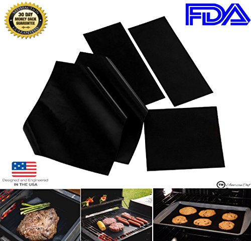 (Set of 5) (Multisize) American Chef Baking and Grill Mats–!Like it or it is yours free! Heavy Duty, Reusable, 0.2mm Thick, FDA Non-Stick Mats for Barbecue and Oven. Ovenliner (Cookie Baskets Ma)