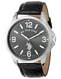 U.S. Polo Assn. Men's Oversized Dial Leather Strap Watch Black USC50007