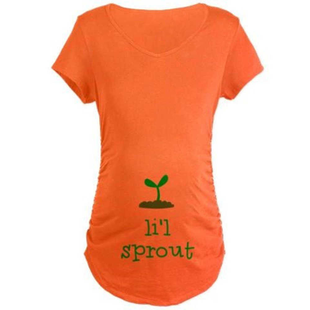 CafePress Side Ruched Scoop Neck Lil Sprout Maternity T-Shirt Cotton Maternity T-shirt