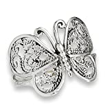 Prime Jewelry Collection Sterling Silver Women's Filigree Wings Butterfly Ring (Sizes 6-10) (Ring Size 7)