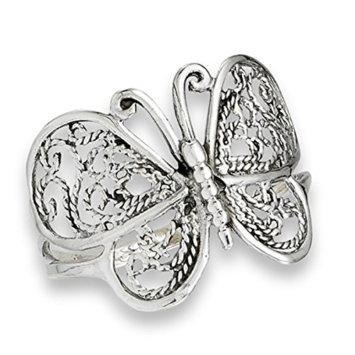 Prime Jewelry Collection Sterling Silver Women's Filigree Wings Butterfly Ring (Sizes 6-10) (Ring Size 7) ()