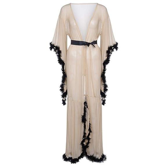 VJGOAL Mujeres Casual camisón Largo lencería camisón Ropa de Dormir Sexy tentación Transparente Bata Ropa Interior
