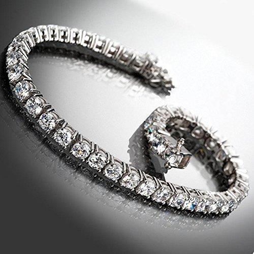 Silvercz Jewels Round Cut Sim Diamond Box Link Tennis Bracelet 14K White Gold Over For Womens -