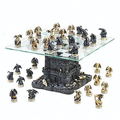 Black Tower Dragon Chess Set Kids Children