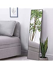 BEAUTME Full Length Mirror, Long Mirror Bedroom Standing Floor Mirror Bathroom Wall Mirror Big HD Mirror (Black, 119.3*30.4cm)