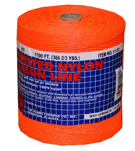 T.W . Evans Cordage 11-191 Number-18 Twisted Nylon Mason Line, 1100-Feet, Orange by T.W . Evans Cordage Co.