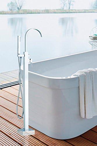 BXU-BG 蛇口のHELLOシングルハンドルバスタブシャワーセットのフロアには、ニッケルブラシ浴室洗面シンク船真鍮タップミキサー蛇口、白をマウント
