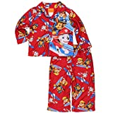Paw Patrol Little Boys Flannel Coat Style Pajamas (2T, Rescue Red)
