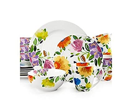 Gourmet Basics by Mikasa Provence Garden 16-Piece Dinnerware Set Service for 4  sc 1 st  Amazon.com : provence dinnerware - Pezcame.Com