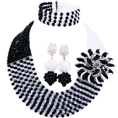 Transparent Necklace And Earring Set - aczuv 8 Rows African Jewelry for Women Nigerian Beads Wedding Necklace Set Bridal Jewelry Sets (Black Transparent)