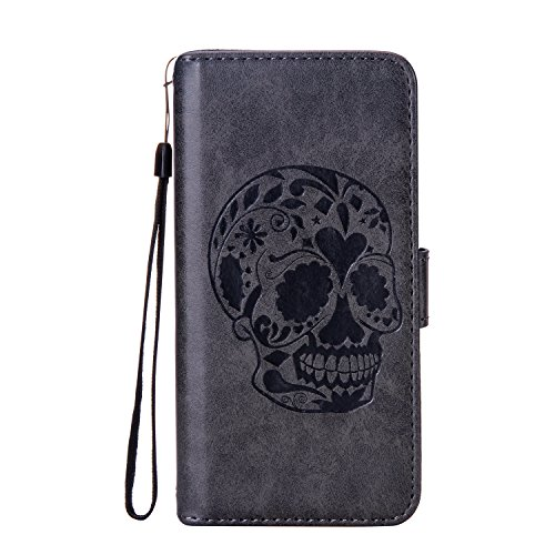 Sony Xperia L1 Case,DAMONDY 3D Skull Stand Wallet Purse Card ID Holders Design Flip Cover TPU Soft Bumper PU Leather Magnetic for Sony Xperia L1-black